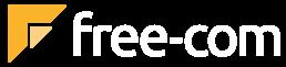 Logo free-com transparent, 4C weiß